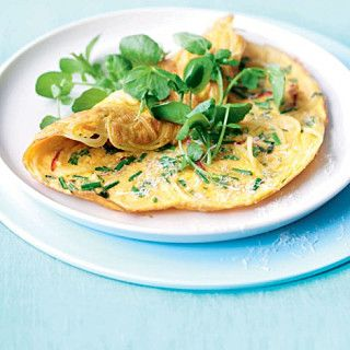 Spaghetti, herb and Parmesan omelette