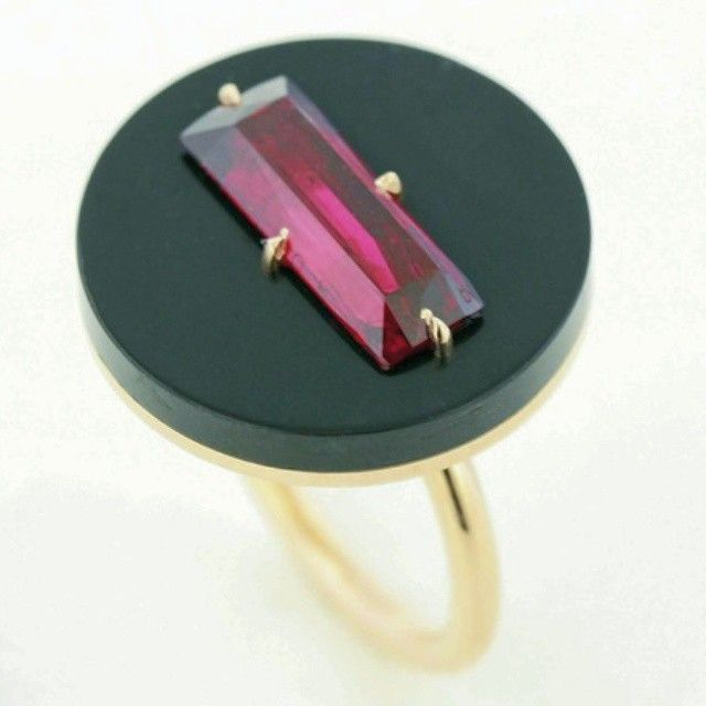 taffinjewelry 3cts + natural African ruby, ceramic and rose gold ring.