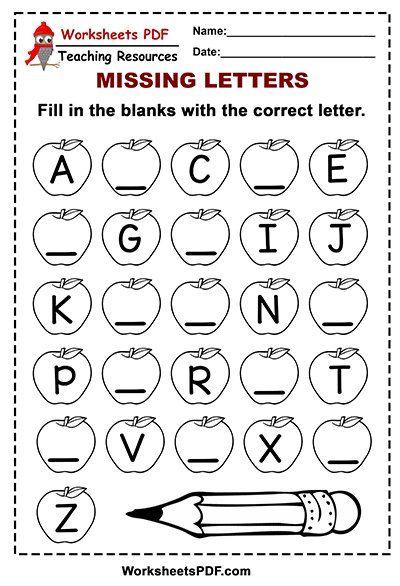 Free Printable Apple Alphabet Missing Letters Alphabet Letter Worksheets Printable Alphabet Worksheets Alphabet Worksheets Free Kindergarten worksheets letters pdf