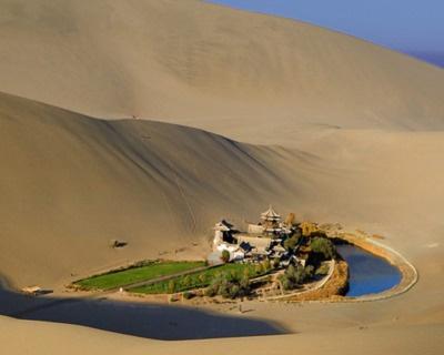 Yueyaquan Lake  Dunhuang, ChinaCrescents Lakes, Sands Castles, Silk Roads, Yueyaquan Lakes, Places, Travel Destinations, Dunhuang, Deserts, China