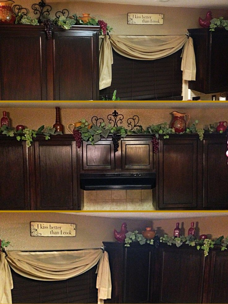 Decor on top on Kitchen Cabinets Grapes, Vines and Porcelain Pots