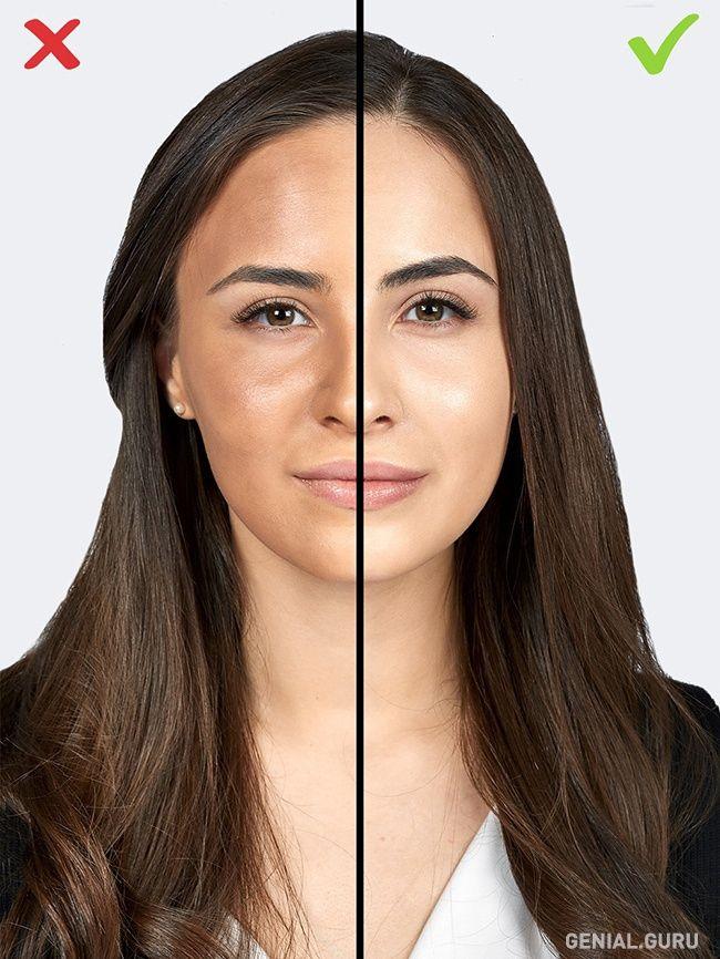 Muchas chicas, queriendo lograr el efecto de piel mate perfecta, a menudo se equivocan y se aplican demasiados cosméticos. Una capa demasiado gruesa y el tono mal escogido pueden acentuar tus arrugas y agregarte unos años encima. Los maquilladores aconsejan renunciar a bases de maquillaje densas y darles preferencia a las bases ligeras y fluidos líquidos con partículas brillosas que hacen que la piel luzca más saludable, natural y no la sature.