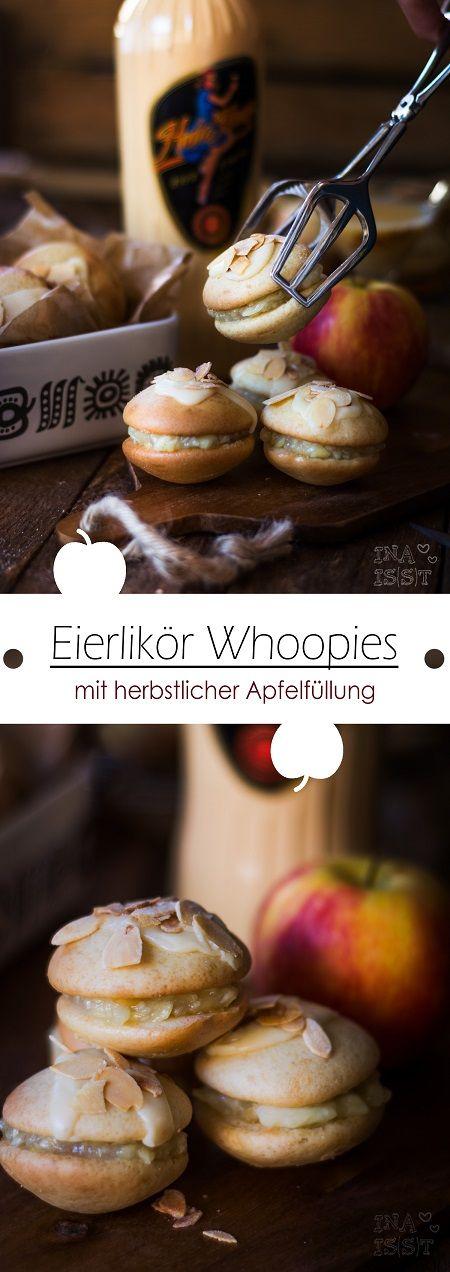 Eierlikör-Whoopies mit herbstlicher Apfelfüllung /// Eggnog Whoopies with apple filling