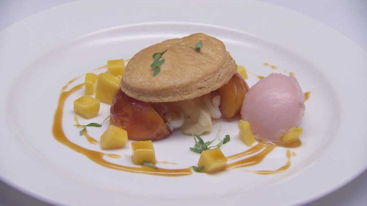 Carmelised Peach Tart with Ginger Verbena Sorbet, Diplomat Cream and Mango