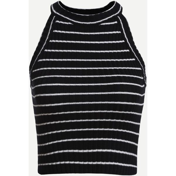 Black Striped Ribbed Knit Halter Neck Top ($7.99) ❤ liked on Polyvore featuring tops, tanks, black, cropped, shirts, vest tops, stripe crop top, halter top, summer tops and summer halter tops
