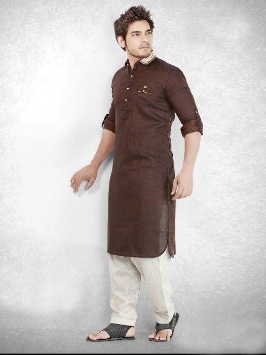 Brown Festive Cotton Men Pathani Suit. Mens wear for Eid