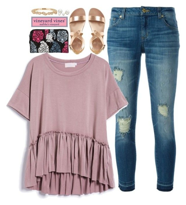 """""""First Day of School {pictures of me in items}"""" by pnw-prep ❤ liked on Polyvore featuring MICHAEL Michael Kors, Vineyard Vines, Bony Levy, Allurez and Vera Bradley"""