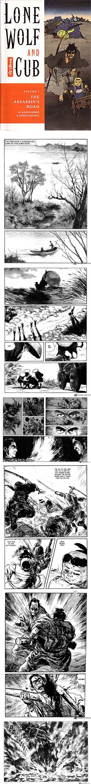 """Lone Wolf and Cub chronicles the story of Ogami Ittō, the Shogun's executioner. Disgraced by false accusations, he is forced to take the path of the assassin. Along with his three-year-old son, Daigorō, they seek revenge on the Yagyū clan and are known as """"Lone Wolf and Cub"""". Created by writer Kazuo Koike and artist Goseki Kojima. First published in 1970, the story was adapted into six films."""
