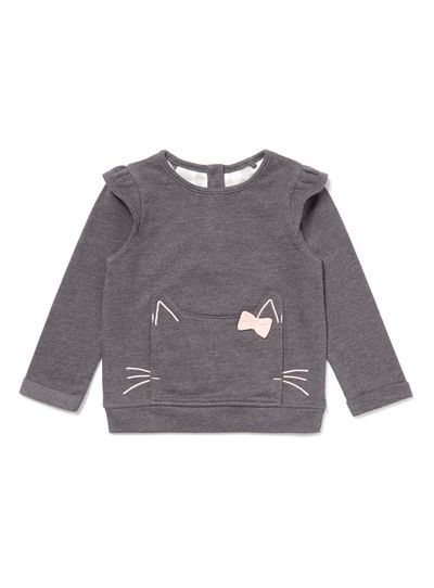 Lend a fun touch to their wardrobe with this charcoal sweat top. Made in a cotton rich blend, it features long sleeves, a large front pocket and pink cat embroidered appliqué. Charcoal cat sweat top Cotton rich Long sleeves Large front pocket Cat embroidery Keep away from fire