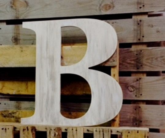 "Big extra large wooden letter B 30"" slightly distressed with espresso wash by ASimplePlaceOnMain, $49.65"