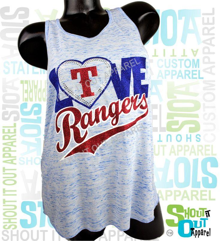 Texas Rangers glitter, rhinestone t-shirt -marble blue flowy tank - Love Rangers-F by ShoutitOutApparel on Etsy