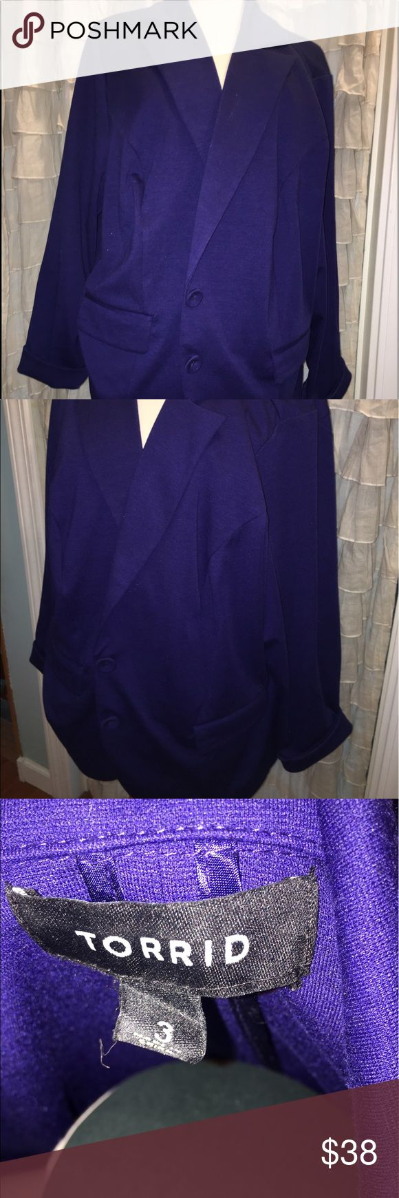 TORRID Royal Blue Blazer Bright royal blue knit Blazer with double buttons. Long sleeves that are easy to roll up to complete the office to date night look! EUC!! torrid Jackets & Coats Blazers