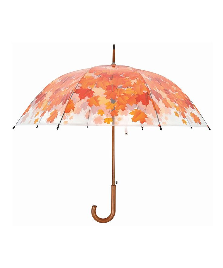 Take a look at this Clear & Orange Leaves Birdcage Umbrella today!