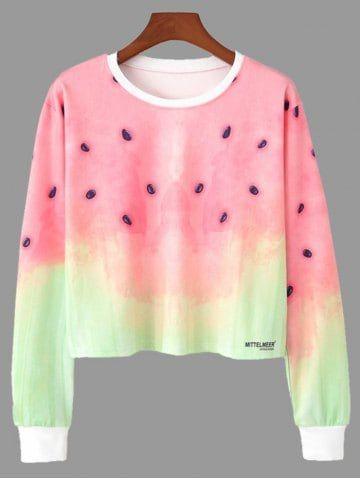8c108461cef5d Ombre Color Watermelon Print Cropped Sweatshirt