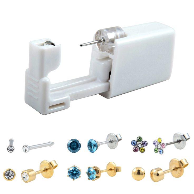 Disposable Safe No Pain Sterile Ear Stud Earring Stude Piercing Gun Piercer Tool…