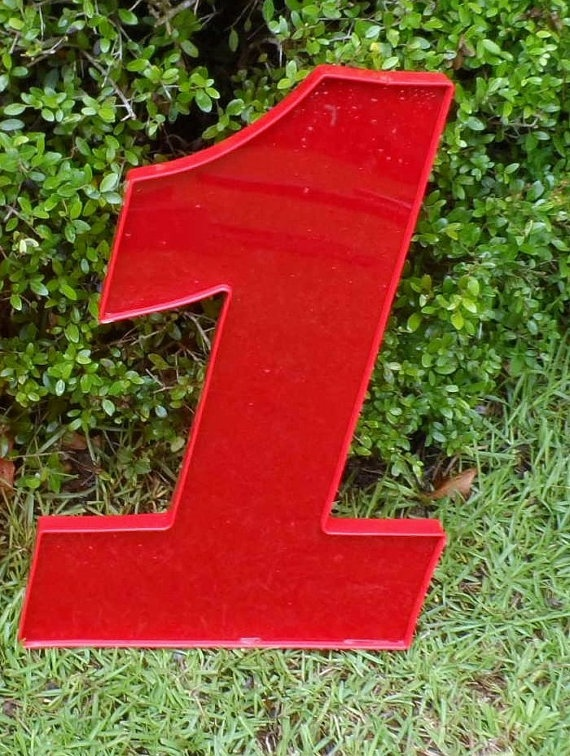 "Large New Red Acrylic Number ""1"", 20"" tall, industrial"
