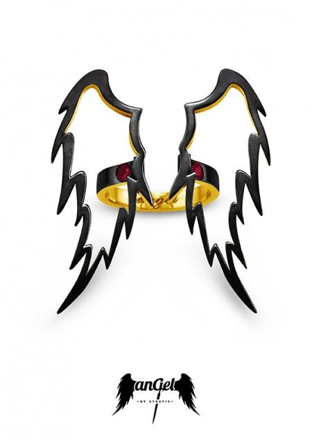 Angel Ring, the ultimate angelic sign, left as reminder that Angels are continually watching over Humanity. Gold Plated Silver, Rubies 0.16 ct, Black Enamel. Click to find more jewellery pins! #style #design #ideas #jewellery #angelbystratis #voyjewellery #trends #fashion #womens fashion #love  #stratis #stratisvoyiatzis #stratisvogiatzis