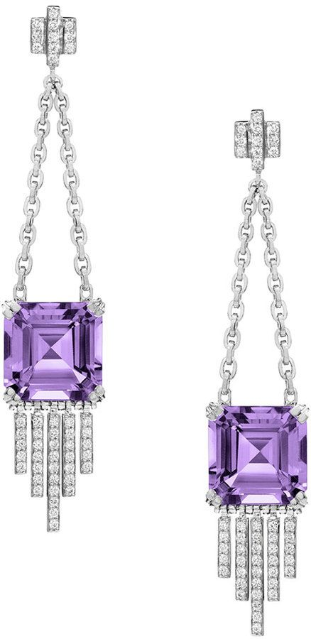 Ivanka Trump Empire Amethyst Diamond Fringe Dangle Earrings