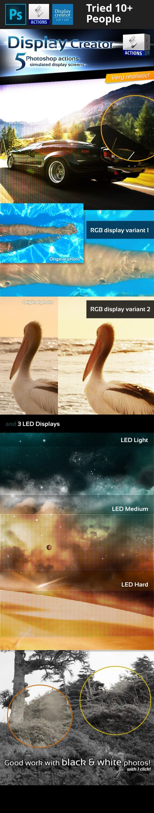 action, any size, background, cool, create, display, effect, fast, lcd, led, modern, photo, photoshop, quick, screen 5 photoshop actions for simulated  LCD  and  LED  displays. Create realistic effects without smart objects. Open the photo and make one-click. Good work with black and white photos too.   If you like it, please rate    Enjoy!