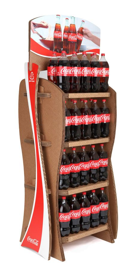 Coca Cola's go green initiative: cardboard shelving for products.