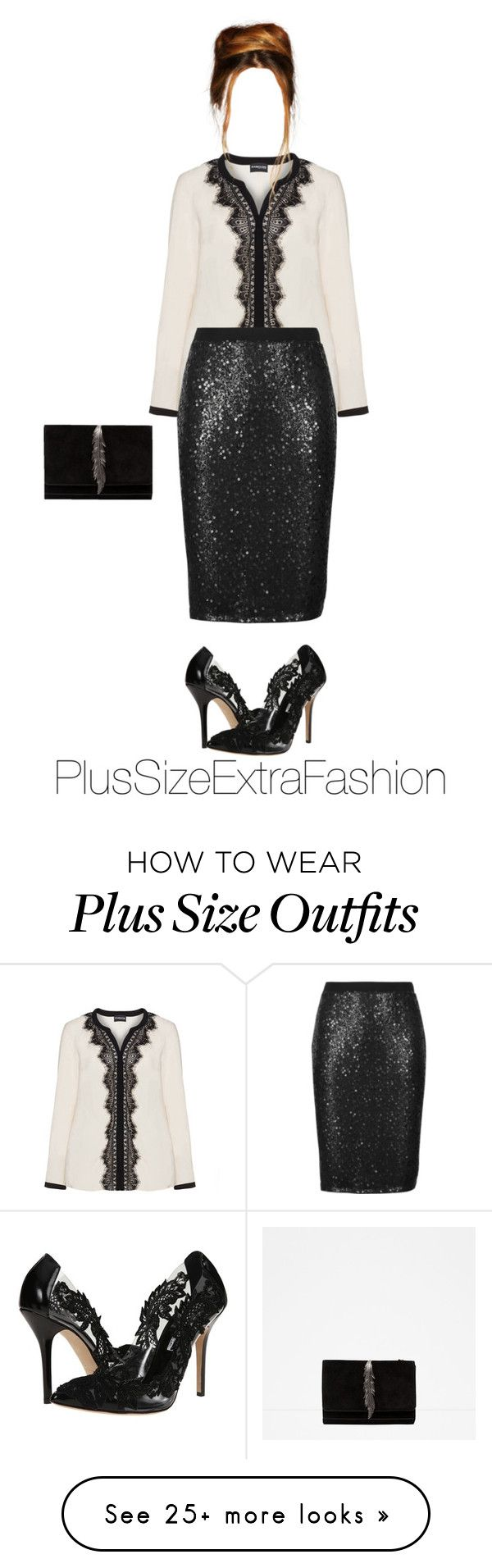 """Plus Size Holiday Party Outfit ft. Black Lace"" by plussizeextrafashion on Polyvore featuring Samoon, M&S Collection, Oscar de la Renta and Zara"