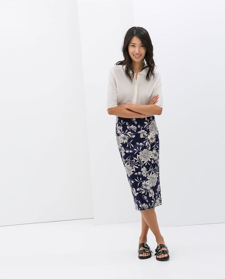 Image 1 of PRINTED PENCIL SKIRT from Zara Birkenstock sandals with long pencil skirt and blouse