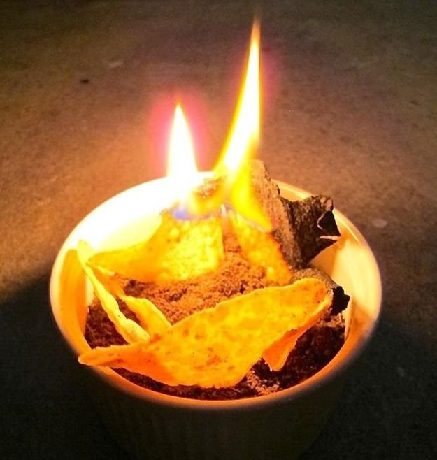 Burn your chips for a make shift fire   Learn how to build a fire with these 25 homemade firestarter ideas at http://pioneersettler.com/how-to-build-a-fire-firestarting
