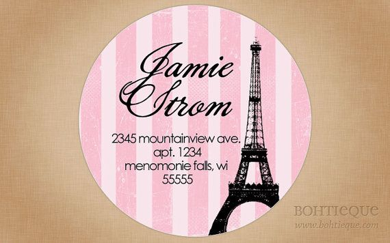 Address Labels Pink Eiffel Tower by Bohtieque on Etsy, $6.25