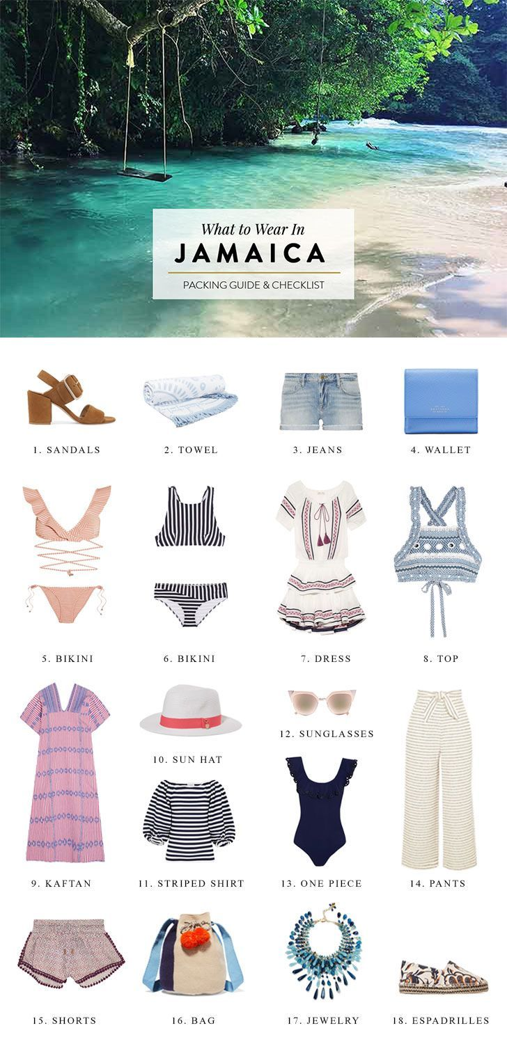 Jamaica packing guide for people traveling to the Caribbean. Click through for travel advice on what to wear, tropical / beach outfit inspiration and a packing checklist.