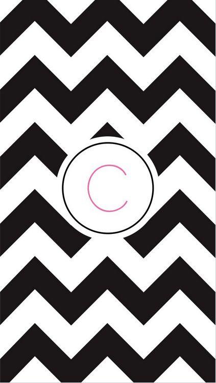 "C in ""Black Chevron"", phone wallpaper"