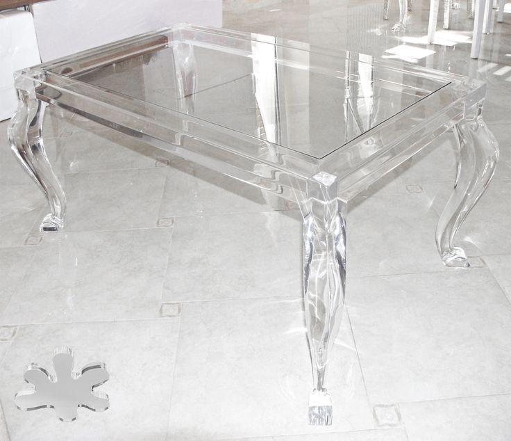Acrylic interiors - Lucite Acrylic coffe table - TAVOLINI DA SALOTTO IN PLEXIGLASS | Tavolo trasparente in plexiglas 06.mod.800   | Tavolino in plexiglass cm.110 x 65 h.43 - telaio sp.mm.40 - gambe sez.mm.70 #lucite #design #home