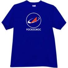 ROSCOSMOS logo Russian T-shirt in blue