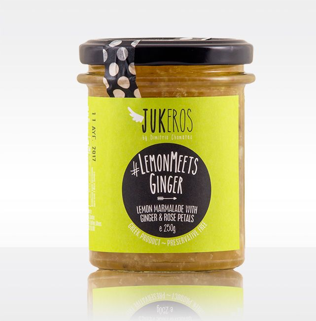 """""""Jukeros Preserves"""" #LEMONMEETSGINGER, Lemon Marmalade with Rose Petals and Caramelized Ginger. Preservative free. Expire day (18 months from production day). Keep refrigerated after opening. With a strong lemon flavor and light rose fragrance. Can be used in pastry, as a filing for lemon cakes, and in pork sauces."""