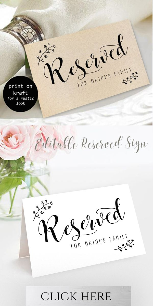 Rustic Reserved Sign Reserved Printable Reserved Wedding Sign