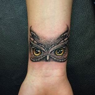 Owl Eyes Inked On Wrist