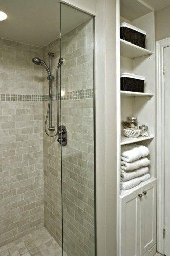 Greyish Shower Tile/Built-In Shelves: Bathroom Design, Small Bathroom, Built In, Subway Tile, Master Bath, Bathroom Ideas, Shower Tile, Contemporary Bathroom, Linens Closet