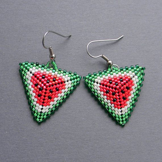 Watermelon Seed bead earrings  Triangle Peyote by Anabel27shop, #beadwork