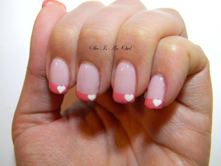 Pink heart french Nails (unghie rosa cuore San Valentino ...
