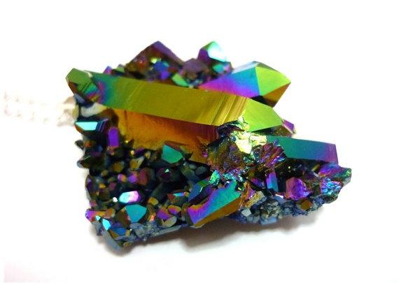 Titanium Quartz Rainbow Aura Crystal Cluster Druzy Necklace