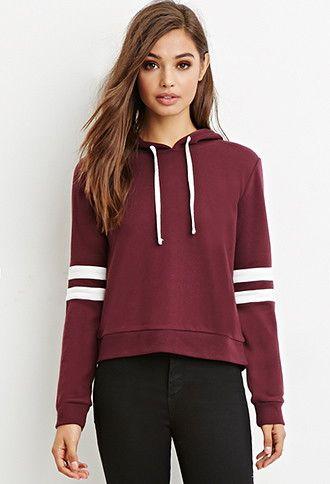 Varsity-Striped Hoodie | Forever 21 - 2000179257