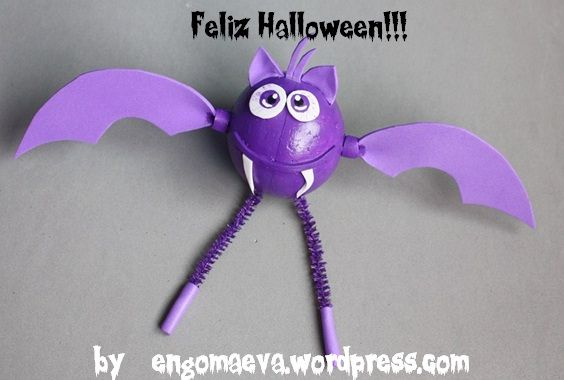 Halloween: Violet Bat, hand made. Done with paper eva.
