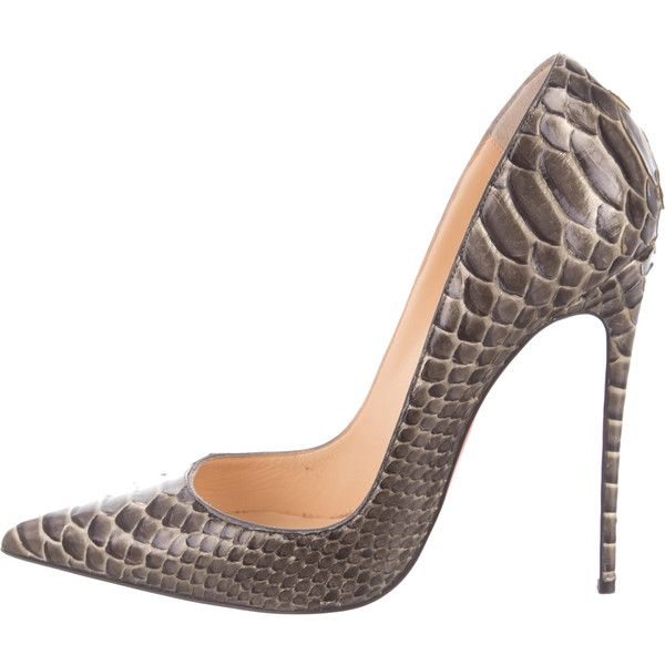 Pre-owned Christian Louboutin So Kate Python Pumps ($825) ❤ liked on Polyvore featuring shoes, pumps, grey, christian louboutin, python shoes, snake print shoes, christian louboutin shoes and metallic pumps