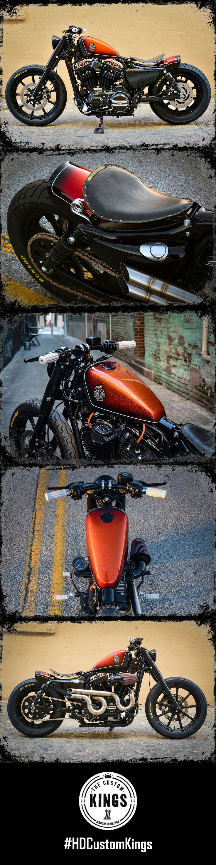 Macon H-D amplified the aggressive lines of the 2016 Iron 883 by chopping the frame, adding a custom rear fender, lowering the bike, and blacking it out with H-D parts & accessories. Vintage white controls and drag bars add a touch of nostalgia. | Harley-Davidson #HDCustomKings
