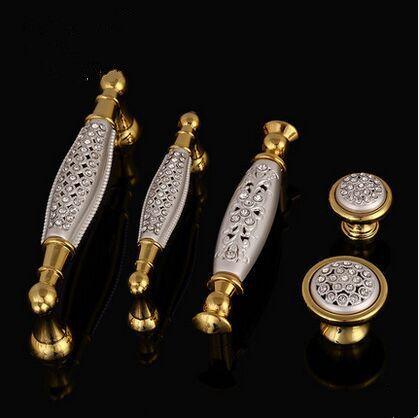 """128 мм делюкс алмазный стеклорез villadom мебель рукоятка золото кухня шкаф платяной шкаф рукоятка тянуть K9 кристалл потяните ручку 5 """""""