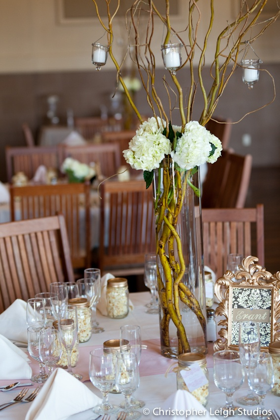 Simple branch and hydrangea centerpiece i created switch