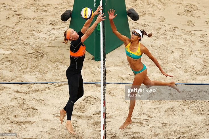Madelein Meppelink #2 of Netherlands vies with Taliqua Clancy #1 of Australia during their women's prelimiary pool F match on Day 5 of the Rio 2016 Olympic Games at the Beach Volleyball Arena on August 10, 2016 in Rio de Janeiro, Brazil.
