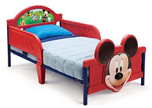 Delta Children – BB86681MM – Mickey – Lit avec Pieds 3D – Rouge: Adapté jusqu'à 22,67 kg Inclut deux barrières latérales de sécurité Cadre…
