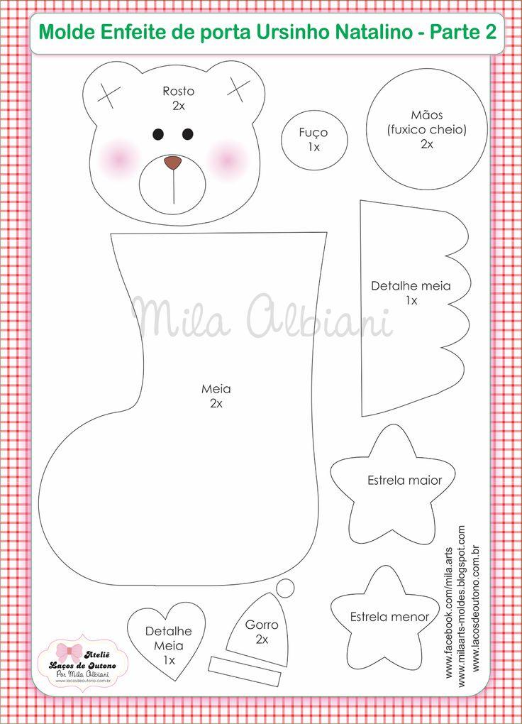 Mila Arts - moldes e PAP: Enfeite de porta Ursinhos Natalinos