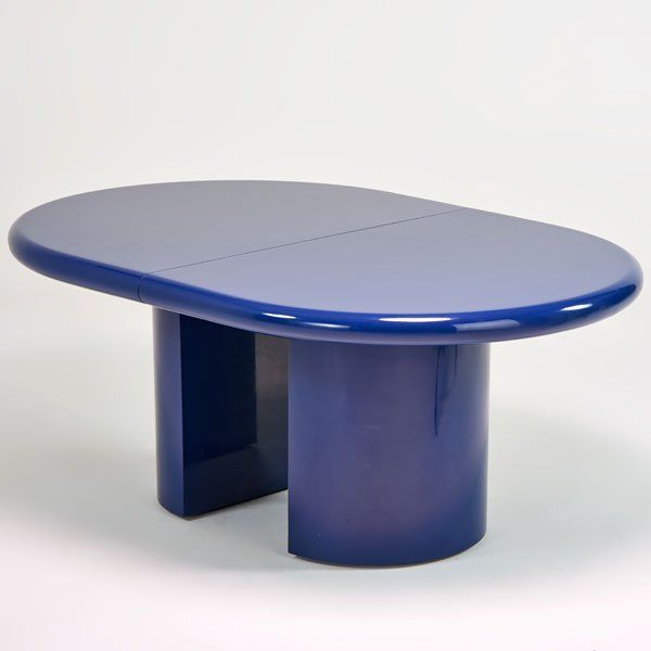 """KARL SPRINGER;Extension dining table, New York, 1980s; Enameled wood; Unmarked; Closed: 30"""" x 72"""" x 48"""" with two 18"""" leaves"""