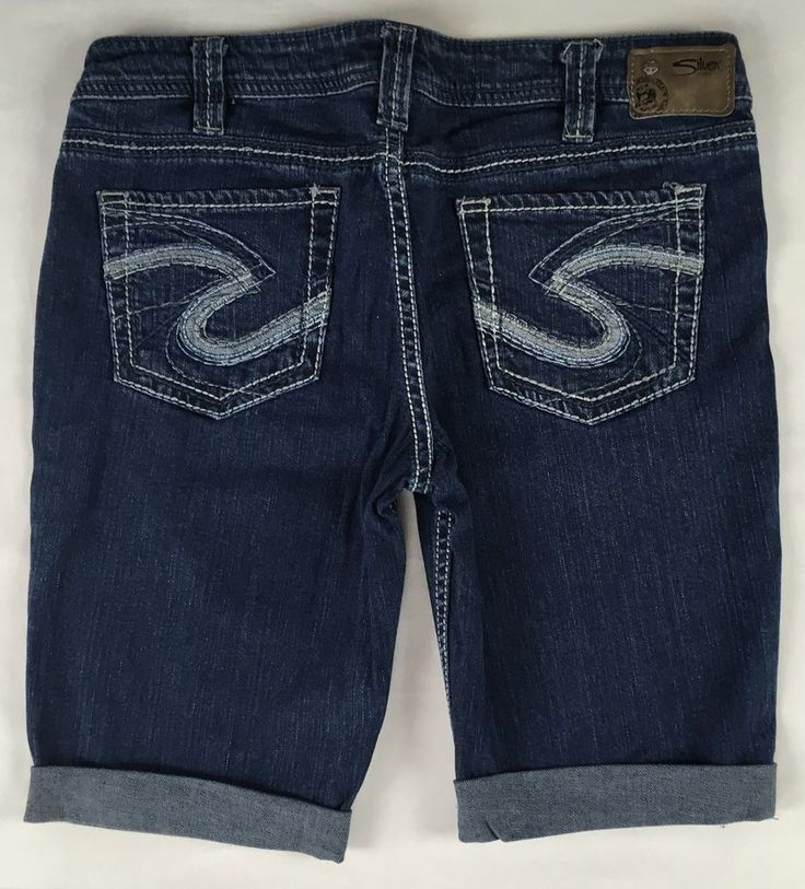 SILVER Jeans Sale Buckle Cheap Mid Rise Aiko Denim Jean Stretch Mid Shorts 32 #SilverJeans #CasualShorts
